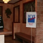 The LWV banner in the lobby of Sergio's Italian Restaurant in Sanford