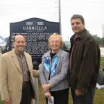 (From Left)  Don Epps, Chairman of the Seminole Historical Commission,  Marie Burch of the Goldenrod Historical Society, and Bob Dallari, Chairman of Seminole County Commission at the dedication of the Gabriella Historical Marker.