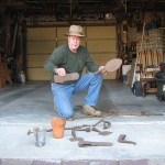 Jim Richardson shows collection of old tools from the harvesting of turpentine.