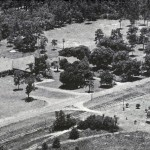 Aerial view church and school, c. 1960