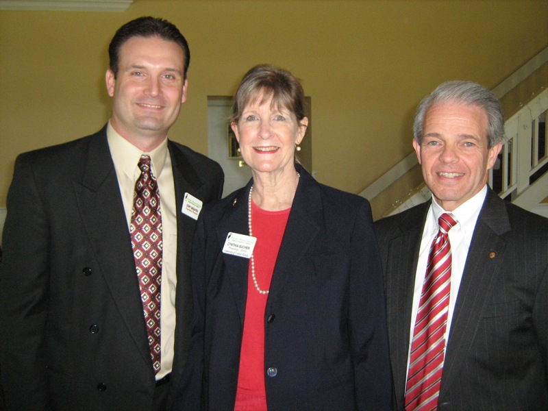 From left: Cory Skeates, chamber executive director; Cynthia Sucher, chamber president; speaker Joel L. Hartman,  University of Central Florida (photo - CMF Public Media)