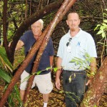 "Thick woods surrounding Dale's camp. Steve ""Rocky"" Cook (left) and Doug Little, Outreach Specialists, Sanford HOPE Team (photo - CMF Public Media)"