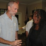 (from left) Forum attendee with candidate Judith Delores Smith (photo - CMF Public Media)