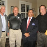 (from left) Oviedo councilmember Keith Britton; forum attendee; candidate Darrell Lopez; and councilmember Stephen Schenck (photo - CMF Public Media)