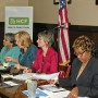 From left, members Josephine Mercado and Zelda Ladan, speaker Laurie Reid and speaker Venita Garvin Valdez, CEO of Domestic Abuse Shelter, Inc. member of the board of the national Business and Professional Women's Foundation (photo - Charles E. Miller for CMF)