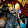 Local media interview Congresswoman Adams after the debate (photo - CMF Public Media)
